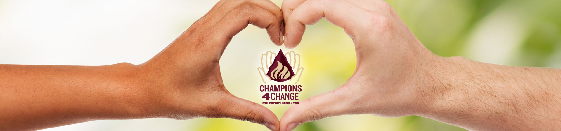 Champions for change logo and hands