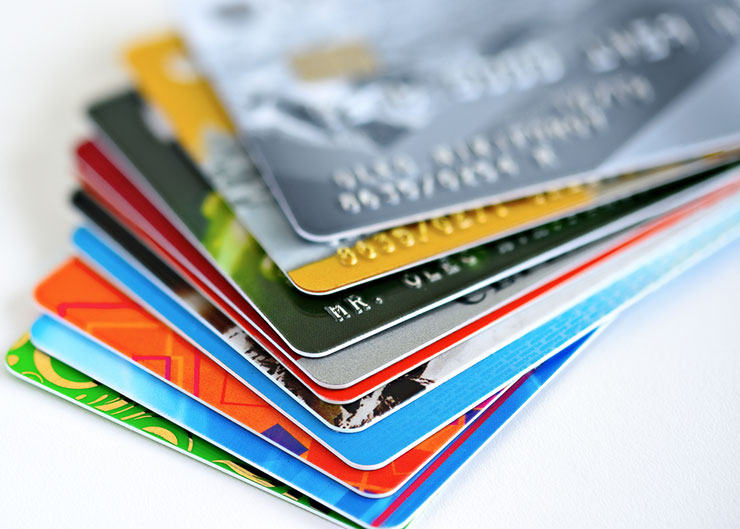 credit cards in stack